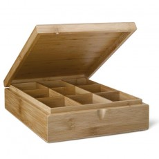 Wooden Teabag Box 9 Compartments Solid Lid - Empty