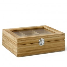 Wooden Teabag Box 6 Compartments Window Lid - Empty
