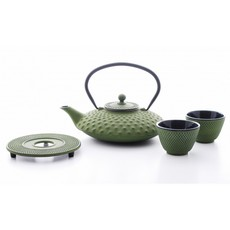 Xilin Cast Iron Teapot Set Green Teapot & Cups 1.25L
