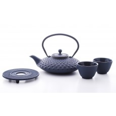 Xilin Cast Iron Teapot Set Blue-Black Teapot 0.8l & Cups