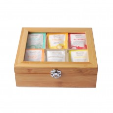 Caffeine Free Teabag Collection in Wooden Tea Box Window Lid