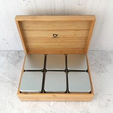 Wooden Tea Box with 6 Tins For Loose Tea