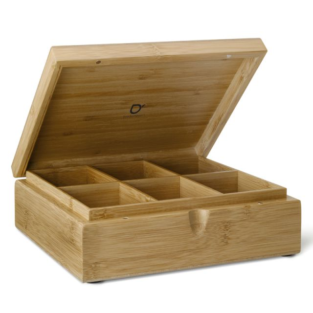 Wooden Teabag Box 6 compartments  solid lid - empty