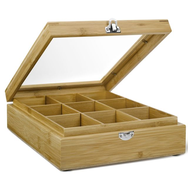Wooden Teabag Box 9 Compartments Window Lid - Empty