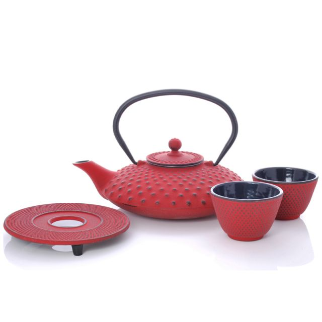 Xilin Cast Iron Teapot Set Red Teapot & Cups 0.8L