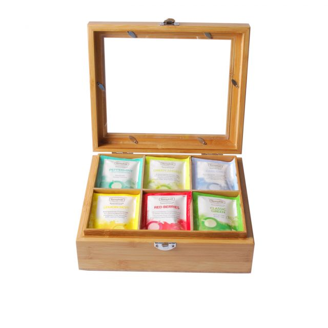 Classic Teabag Collection in Wooden Tea Box Window Lid