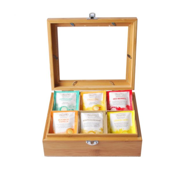 Caffeine Free Teabag Collection in Wooden Tea Box (Window)