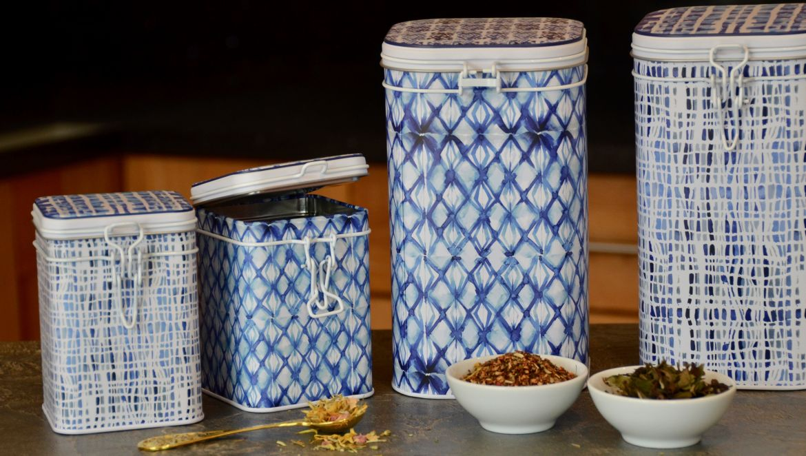 Indigo Set of Two Caddies, 150g & 500g